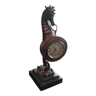 Late 20th Century Maitland Smith Brass Seahorse Clock