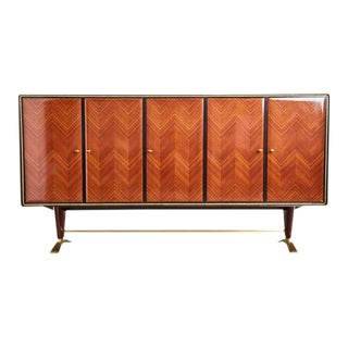 1950s Paolo Buffa Chevron Parquetry Italian Rosewood Buffet For Sale