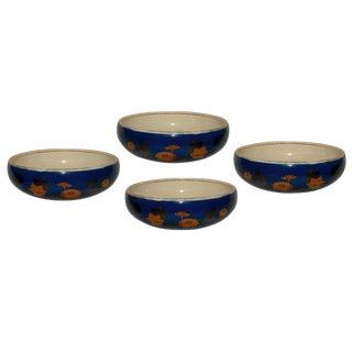 Japanese Ceramic Blue & Gold Serving Bowls - Set of 4