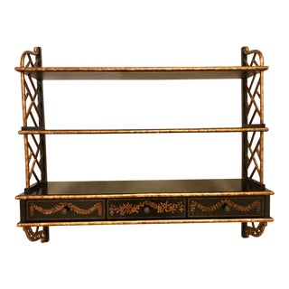 Chinoiserie Faux Bamboo Black Lacquer Gilt Hanging Shelf For Sale