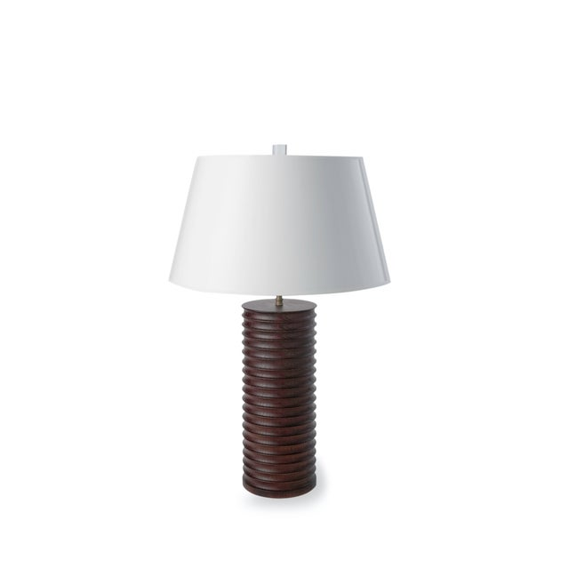 Modern Turned Oak Table Lamp - Image 6 of 6