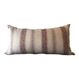 Alamwar Taupe Striped Calicut Chintz Pillows For Sale