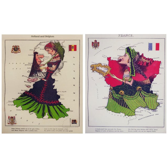1869 Fun Maps of Europe, Reproduction Set of 12 For Sale - Image 4 of 10