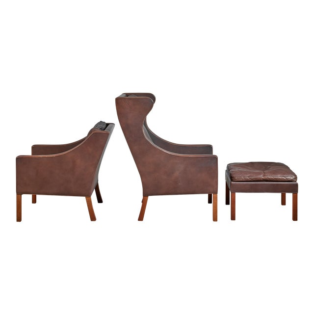 Borge Mogensen Brown Leather Wingback and Lounge Chair With Ottoman For Sale