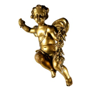 Antique Wood Carved Gold Gilt Sitting Winged Putti For Sale