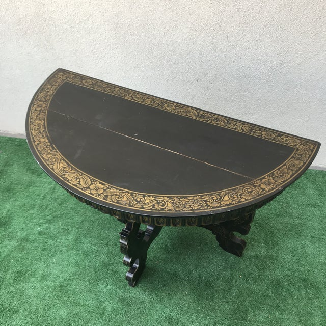 Traditional Late 20th Century Vintage Hand Painted Ebony & Gold Demi-Lune Table For Sale - Image 3 of 8