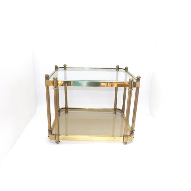 1960's minimalist rectangle glass end table. The glass has one corner scratch and the smoked glass has a edge repair, see...
