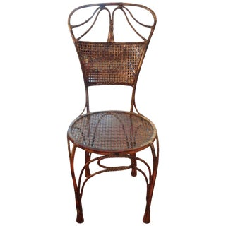 1960s Vintage Italian Gilt Iron Rope Chair For Sale