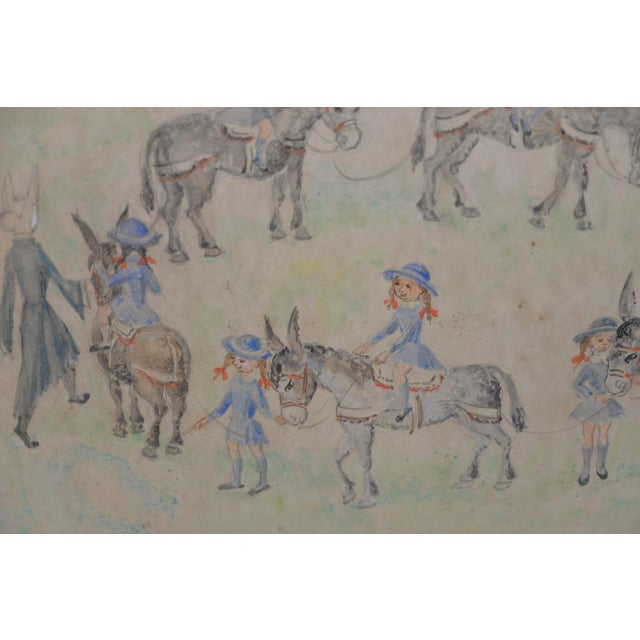 "Jean Lareuse ""School Girls on a Donkey Ride"" Original Watercolor c.1950 Charming original watercolor by listed French..."