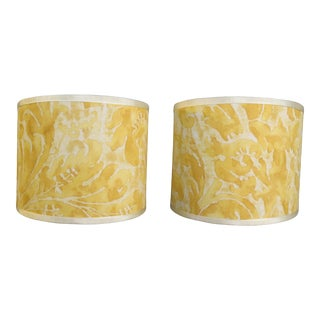 Yellow and White Fortuny Sconce Shades - a Pair For Sale