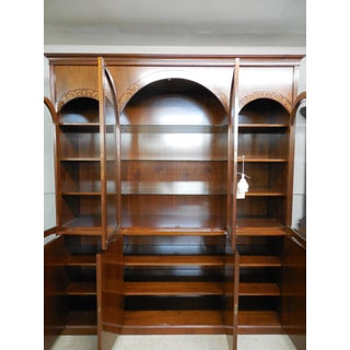 """Georgian Style Mahogany Bookcase Lighted China Cabinet 96""""H x 84.5""""W Preview"""