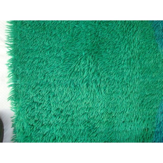 "Danish Modern Green Shag Rya Rug - 5'7"" x 7'11"" - Image 11 of 11"