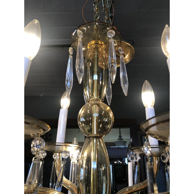 1950s Mid-Century Modern Amber Murano Glass Two Tier 12 Light Chandelier For Sale - Image 9 of 13
