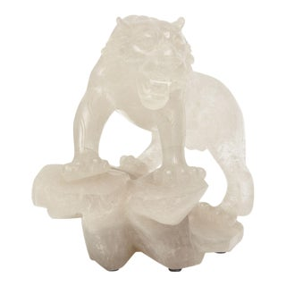 Companion Pair of Rock Crystal Tiger Sculptures, France For Sale