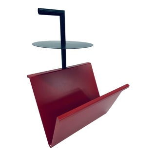 Post Modern Steel Magazine Rack Table With Handle For Sale