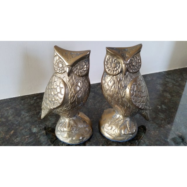 Classic pair of brass owl bookends. Price is for the pair.