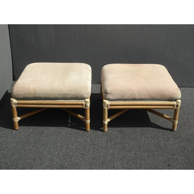 Pair Vintage Mid-Century Modern McGuire Furniture Bamboo Rattan Sage Ottomans For Sale - Image 10 of 11
