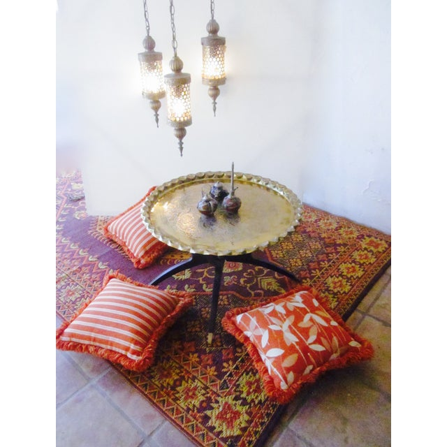 Moroccan Bohemian Orange Pillows & Placemats - Set of 9 For Sale - Image 4 of 11