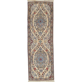 "Traditional Pasargad Ny Persian Nain Hand-Knotted Lamb's Wool & Silk Rug - 2′ × 6′2"" For Sale"