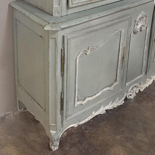 18th Century Country French Painted Provincial Buffet a Deux Corps For Sale - Image 9 of 13