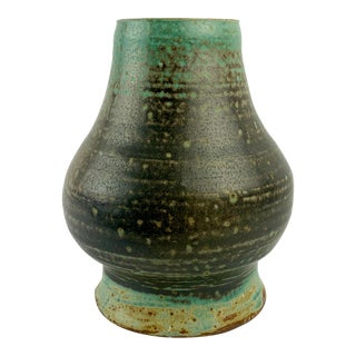 1960s MCM Glazed Turquoise Stonware Vessel Aft Arabia For Sale