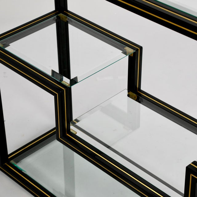 Mid Century Pierre Vandel Black Lacquer and Brass Etagere with Glass Shelves For Sale - Image 9 of 9