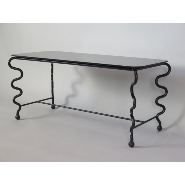 'Serpentine' Coffee Table With Black Glass Top For Sale - Image 11 of 13