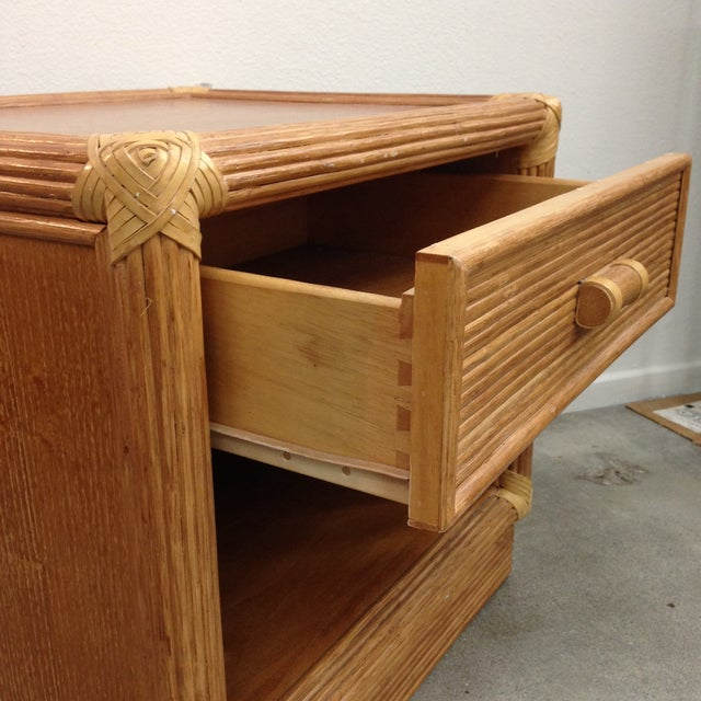 Brown Island Style Wood & Rattan Nightstands - A Pair For Sale - Image 8 of 8