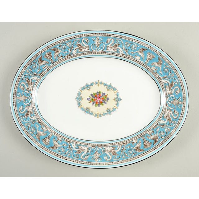 "Wedgwood Florentine Turquoise 11"" Oval Serving Platter For Sale In Greensboro - Image 6 of 6"