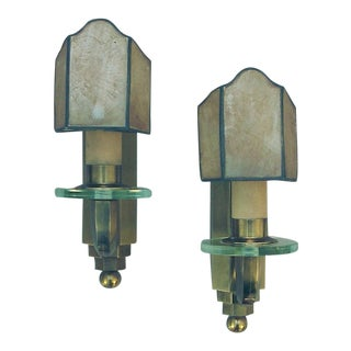 French Brass Art Deco Wall Sconces with Capa Shades - a Pair For Sale