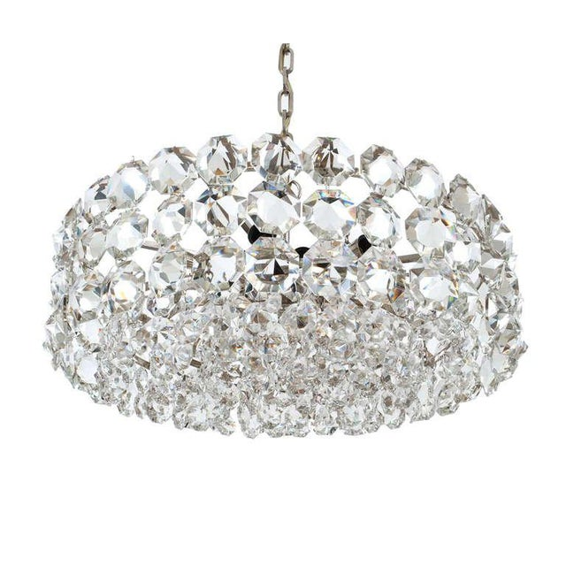 """Impressive pair of very large 24.4"""" 'Drum' chandeliers by Bakalowits and Sohne Vienna with big sparkling octagon gem-like..."""