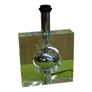European Lucite Chrome Table Lamp For Sale