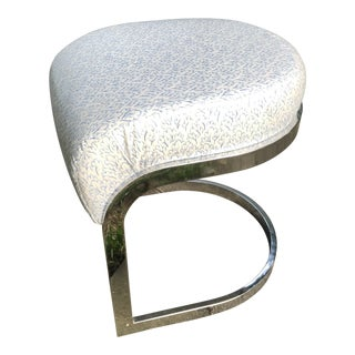Mid-Century DIA Chrome Cantilever Stool Ottoman For Sale
