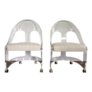 Lucite Spoon Back Chairs by Hill Manufacturing - a Pair For Sale
