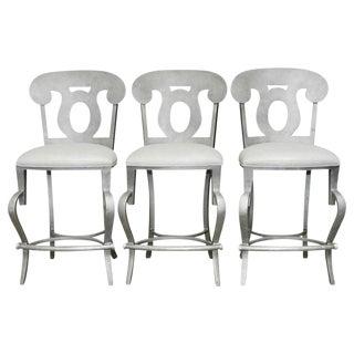 Modern Biedermeier Style Metal Barstools - Set of 3