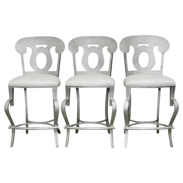 Modern Biedermeier Style Metal Barstools - Set of 3 - Image 1 of 10