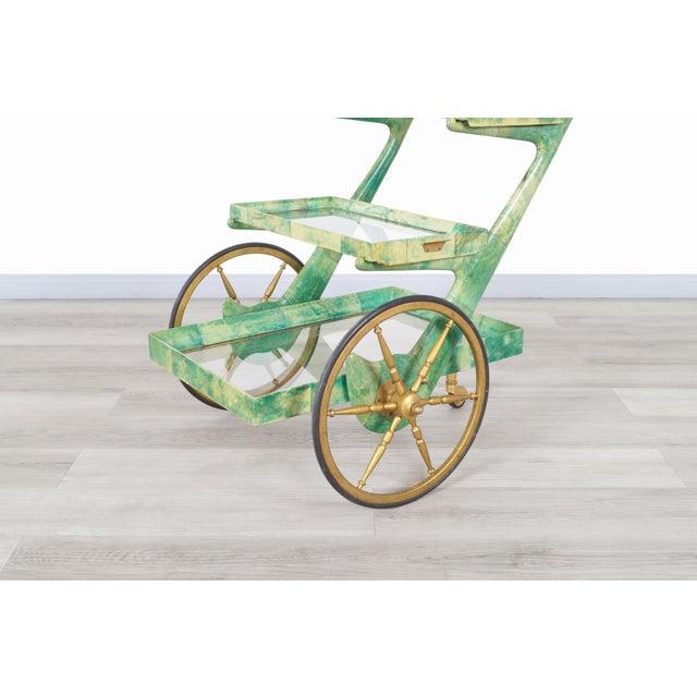 Mid-Century Modern Italian Modernist Goatskin Bar Cart by Aldo Tura For Sale - Image 3 of 11
