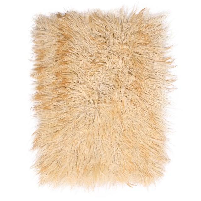 1950s Vintage Mid-Century Tulu Cream Beige-Brown Shag Wool Rug For Sale - Image 5 of 5