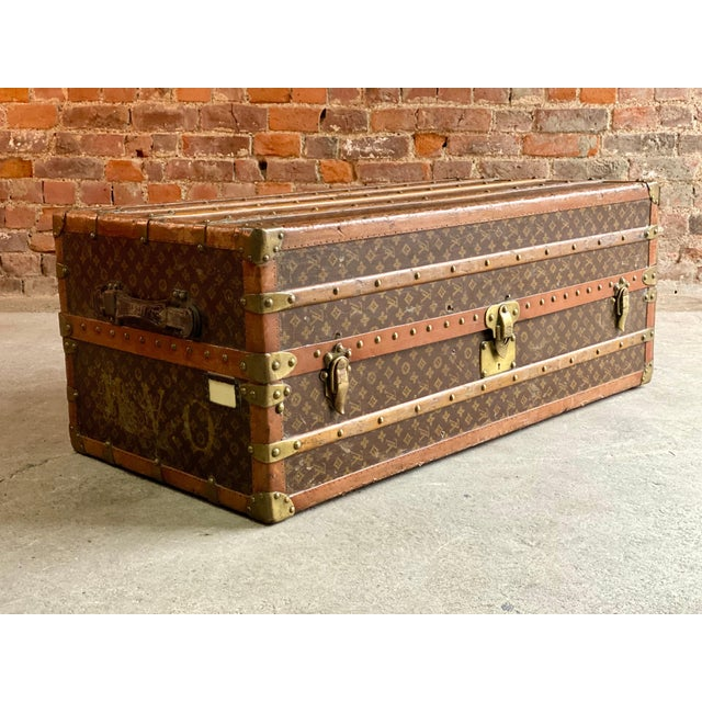 Brown Louis Vuitton Steamer Trunk Wardrobe Trunk Chest France, circa 1920 For Sale - Image 8 of 13