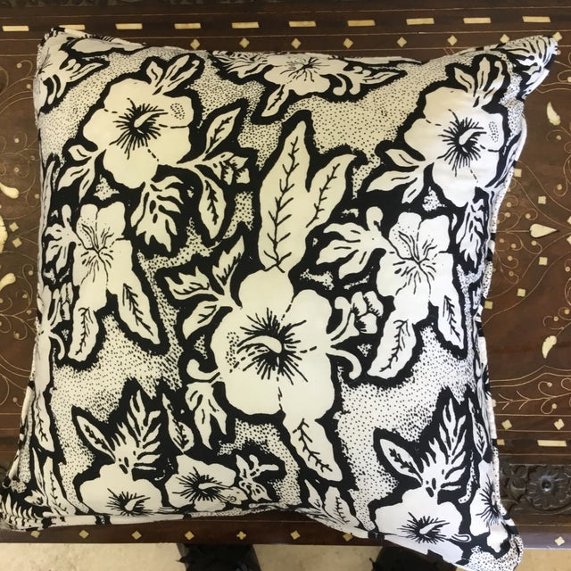 Asian Black and White Floral Cotton Balinese Pillow For Sale - Image 3 of 3