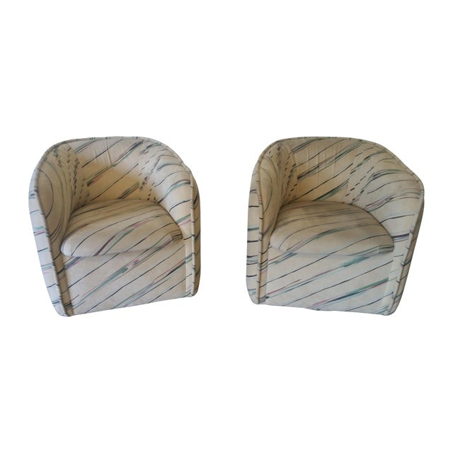 1980s Ultra-Suede Bucket Swivel Chairs - Pair - Image 1 of 5