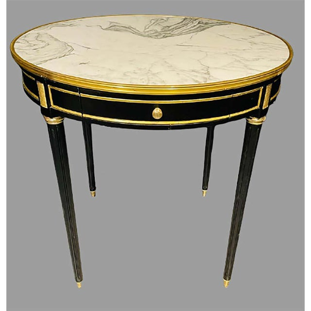 1970s Pair of Maison Jansen Style Bouillotte or End Tables, Ebony Bronze Marble Top For Sale - Image 5 of 13