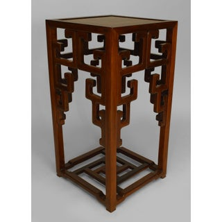 Asian Chinese Hardwood Pedestal Stand with an Open Design Under Top