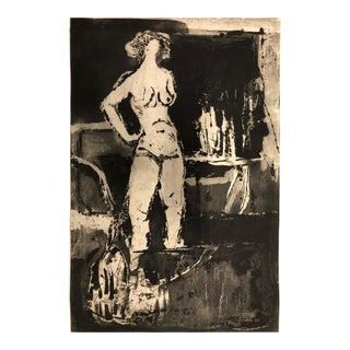 Large Female Nude Etching Signed For Sale