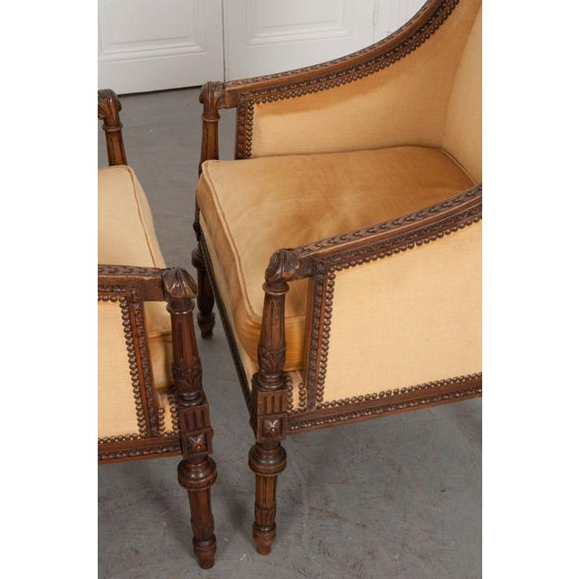 Gold French 19th Century Louis XVI Carved Walnut Bergères - a Pair For Sale - Image 8 of 12