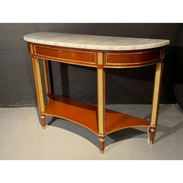 Pair of Russian Neoclassical Consoles / Sofa Tables or Sideboards, Demilune For Sale - Image 4 of 13