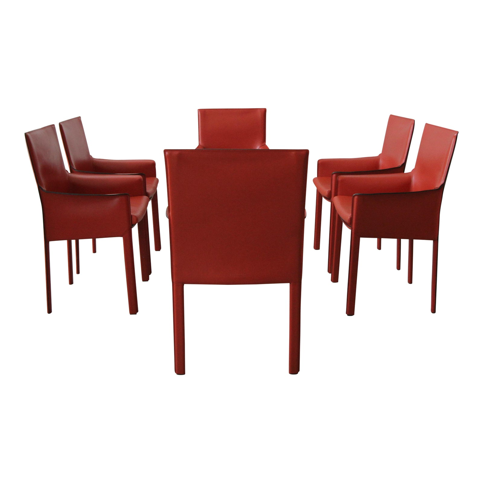 Set Of 6 Orange Italian Leather Dining Chairs By Enrico
