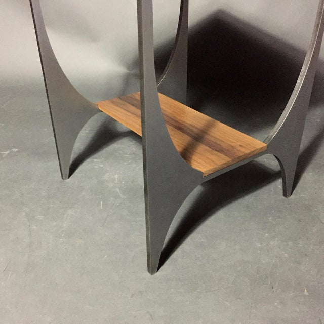 "Richard Velloso ""Curves of Grace"" Black Walnut & Steel Side Tables For Sale - Image 9 of 10"