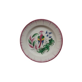 Antique French St Clement Parrot Wall Plate For Sale