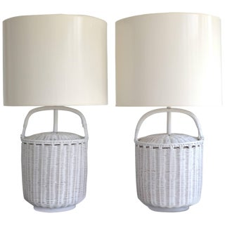 Pair of Midcentury Woven Reed Basket Form Table Lamps For Sale